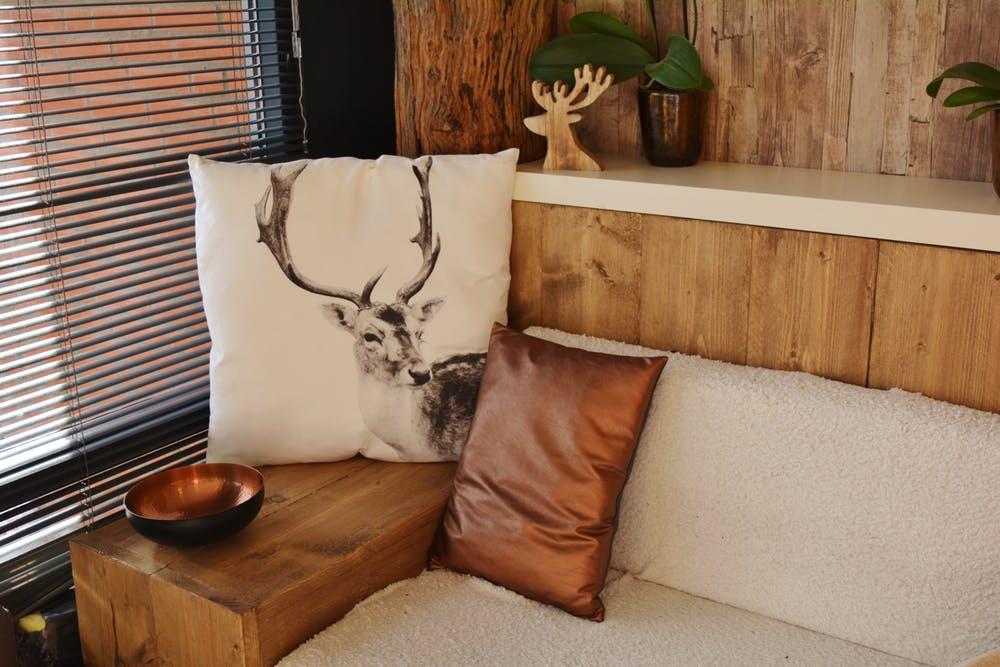 sofa near the window blinds